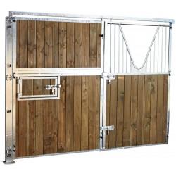 Façade ouvrante pleine bois 3 m avec porte battante col de cygne